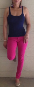 Spring is here!! Just because you haven't pull out all your spring stuff doesn't mean you can't be spring bright. Hot pink jeans, Navy blue tank, but what makes this outfit are the earrings. They make it pop much more then you can tell in this pic. It's easy to bring a little spring into your look. Check out the pic of the earrings close up. (one of my favs)